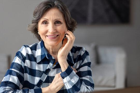 Portrait of a beautiful elderly happy woman