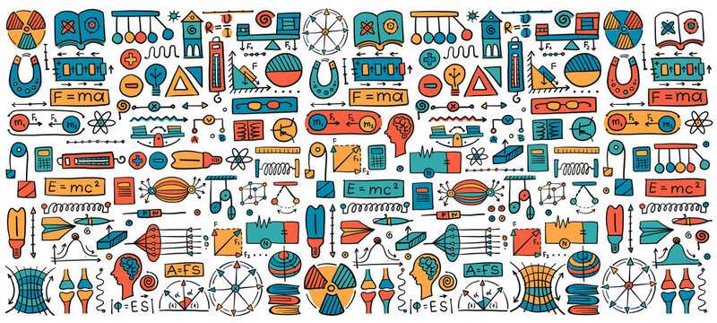 Physics icons, sign and symbols. Seamless Pattern Background for your design