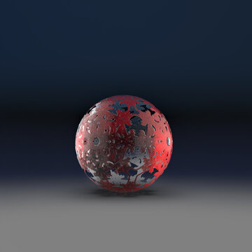 Decorated glass sphere