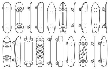 Skate isolated Outline set icon.Vector illustration illustration skateboard on white background .Outline vector set icon skate.