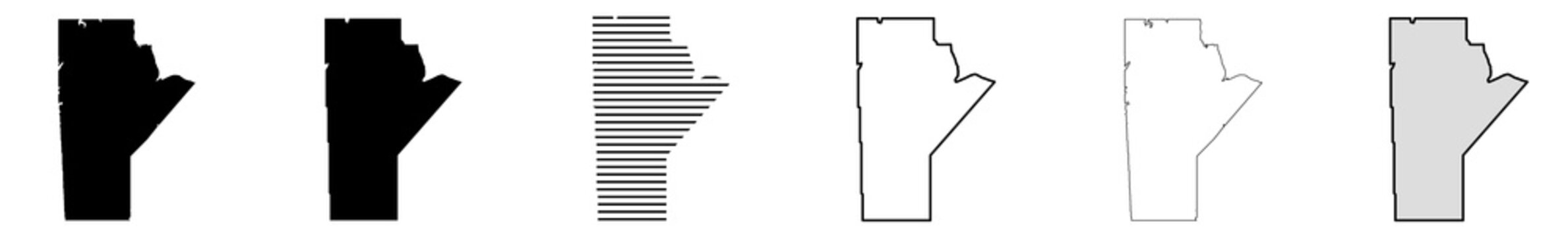 Manitoba Map Black | Province Border | Canada State | Canadian | America | Transparent Isolated | Variations