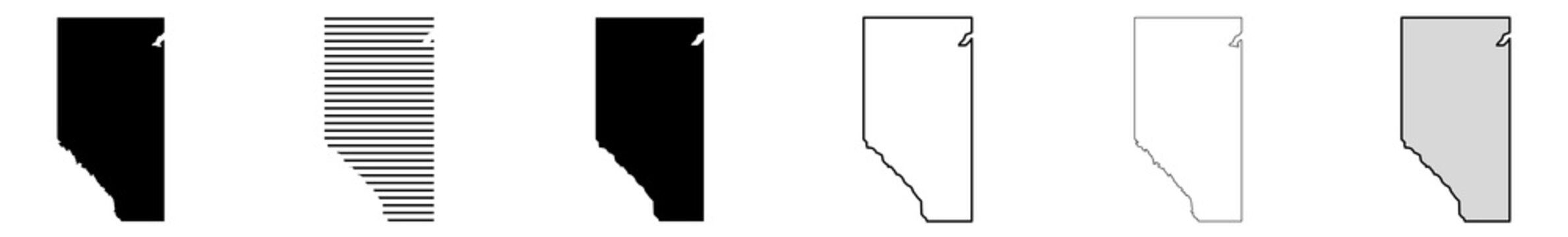 Alberta Map Black | Province Border | Canada State | Canadian | America | Transparent Isolated | Variations