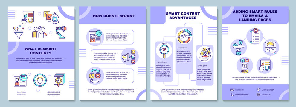 What is smart content brochure template. How does it work. Flyer, booklet, leaflet print, cover design with linear icons. Vector layouts for presentation, annual reports, advertisement pages