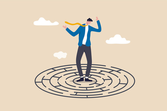Solving complex business problem, difficulty or challenge to overcome to achieve success or business direction concept, confused businessman in the middle of maze labyrinth finding exit or the way out