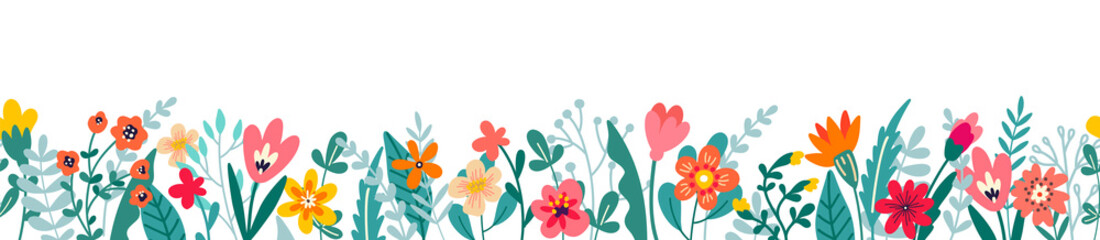Fototapeta Cute horizontal banner with hand drawn blooming flowers. Floral seamless patterns border. Vector illustration on white background