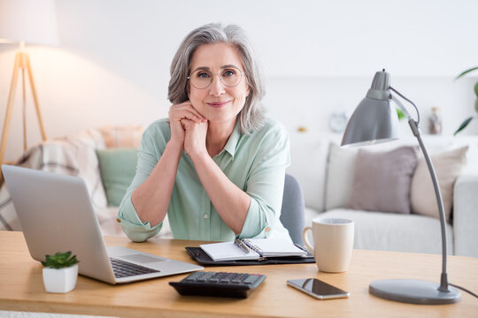 Photo of candid attractive lady sit behind desk hand on cheek look camera have good mood working from home indoors