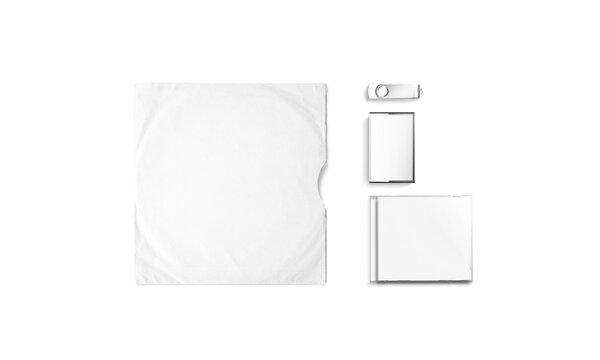 Blank white vinyl, cd, dvd and usb cover mockup set
