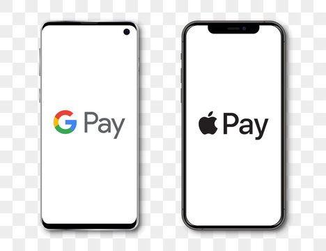 Google pay and Apple pay system on Samsung and Iphone screen