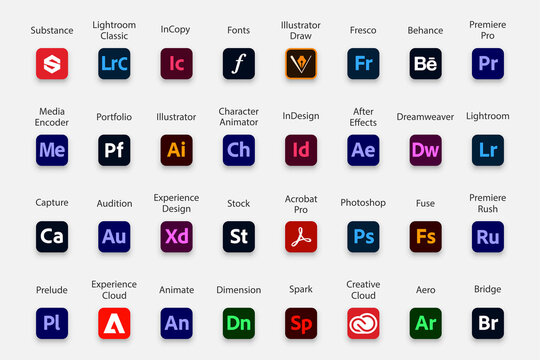 Adobe products icon collection. Set of Adobe logo