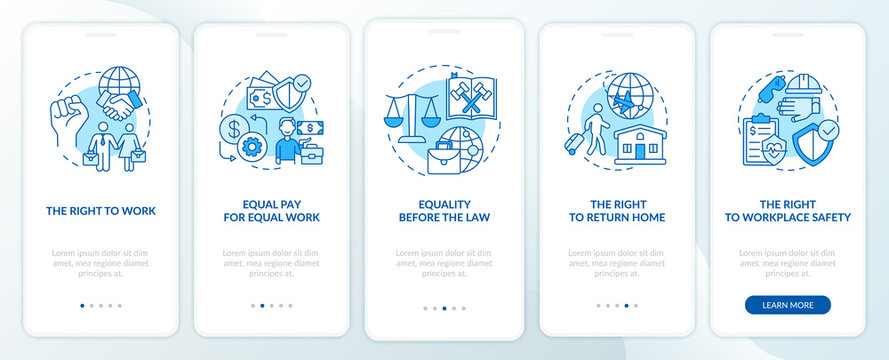 Migrant workers rights blue onboarding mobile app page screen with concepts. Immigrant walkthrough 5 steps graphic instructions. UI, UX, GUI vector template with linear color illustrations