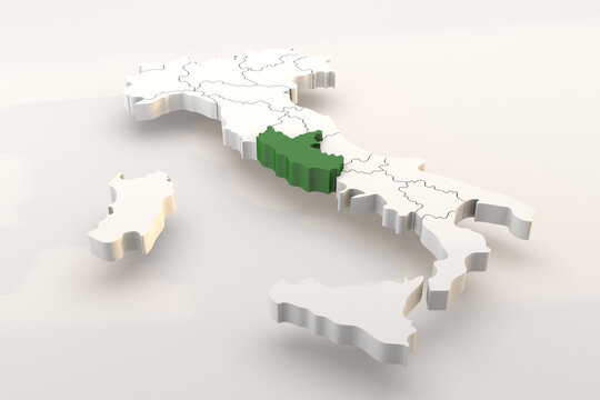 Italy map a 3d render isolated with Lazio italian regions