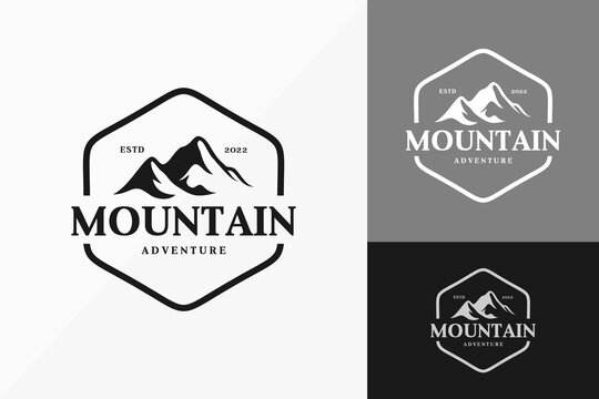 Vintage Mountain Badge Logo Vector Design. Abstract emblem, designs concept, logos, logotype element for template.