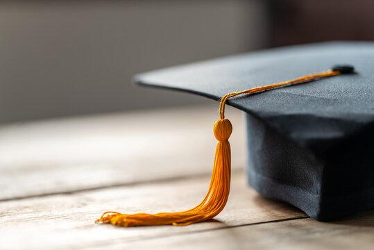 Close up Black graduation cap and yellow tassel