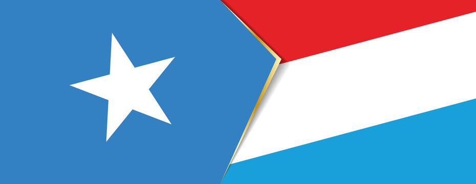 Somalia and Luxembourg flags, two vector flags.