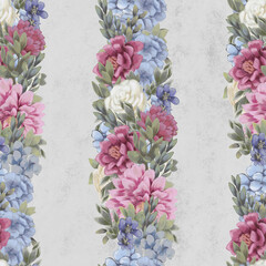 Watercolor floral seamless pattern. Hand painted flowers, greeting card template or wrapping paper