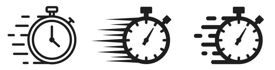 Fototapeta Set of Timer icons. Quick time icon, fast deadline. Timer and stopwatch icons. Rapid line symbol. Countdown timer collection. obraz