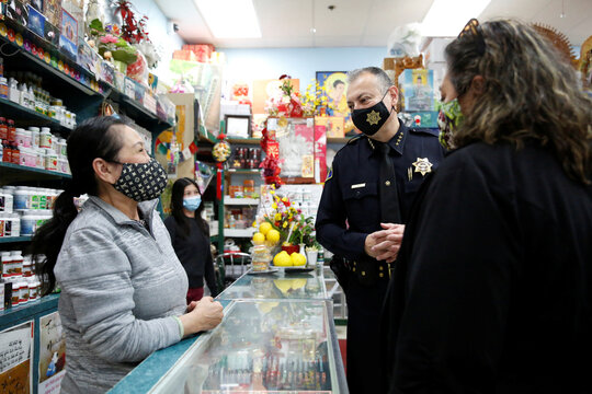 San Jose's new police chief Anthony Mata speaks with members of the Asian community