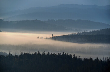Morning in Beskidy, Koniaków, Poland