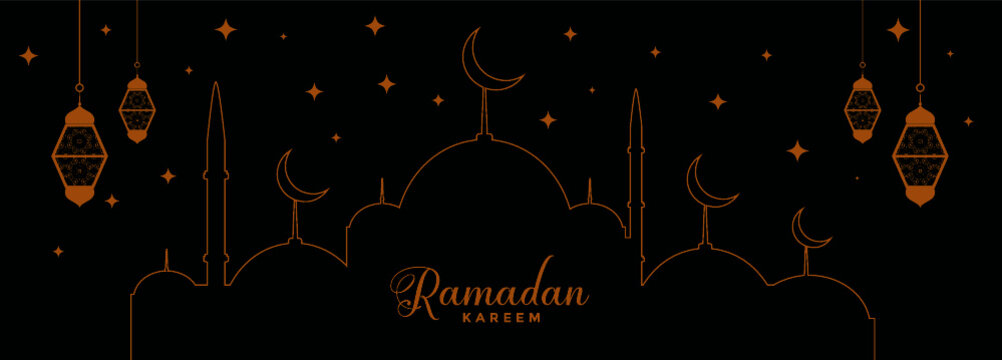 Flat black and golden ramadan kareem decoration banner