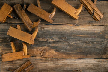 Joinery tools on wood table background with copy space