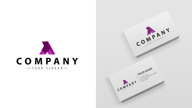 Polygon logo of letter Y. Mockup of business cards with a logo