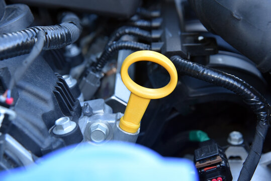 Car engine oil level dipstick, detail
