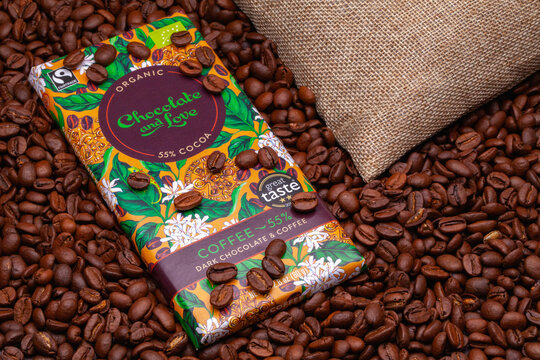 Dark Chocolate and Coffee from Chocolate and Love factory on the coffee beans.