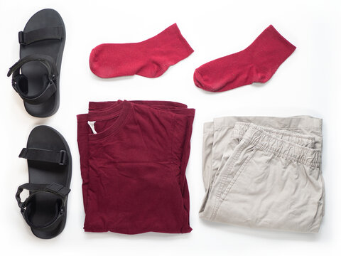 Chilling day outfit dark red color tshirt, socks, black minimal sandal, khaki shorts