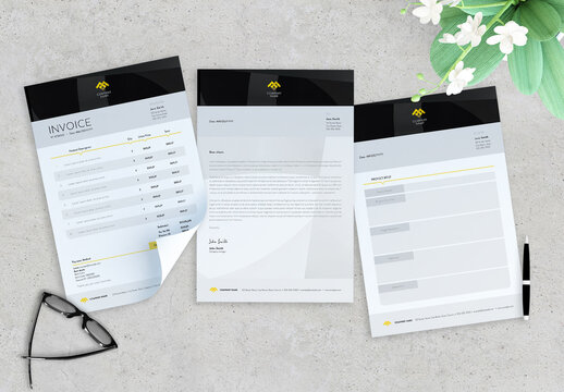 Black and Yellow Simple Invoice, Letter and Proyect Brief