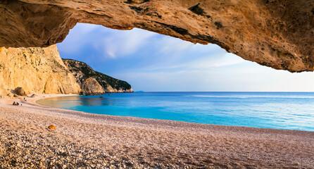 Beautiful sea scenery - sunset in Porto Katsiki beach. Lefkada Ionian island of Greece