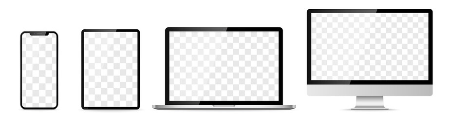 Fototapeta Device screen set - laptop smartphone tablet computer monitor. Vector