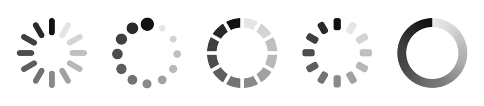 Loading icon set. Load bar collection. Vector illustration