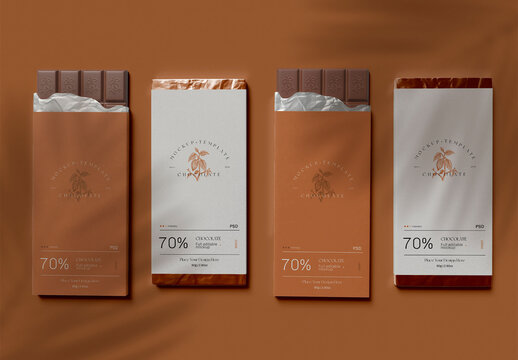 Four Chocolate Bars with Wrap Mockup