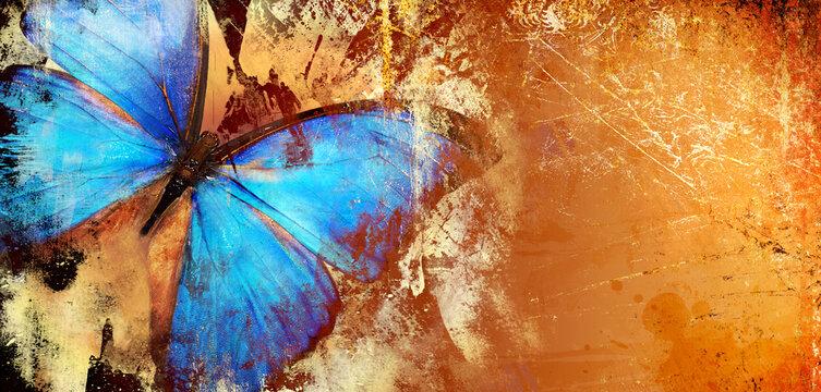 Abstract piantting - golden blue butterfly wings. fine art