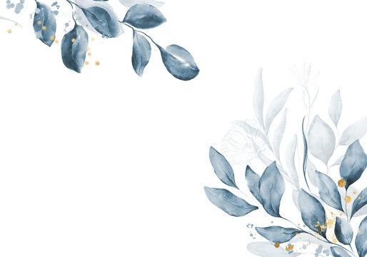 Pale blue leaves - botanical design banner. Floral pastel watercolor border frame.