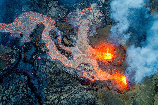Aerial view of the recent active volcano in the Geldingadalir valley at Fagradalsfjalli mountain, Reykjanes Peninsula, Iceland.