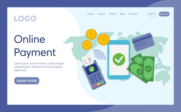 Internet Landing Page With Writings And Objects. Vector Illustration In Flat Cartoon Style. Online Payment Idea Composition. Money Elements Lying. Smartphone, Coins, Credit Card, Banknotes, Terminal