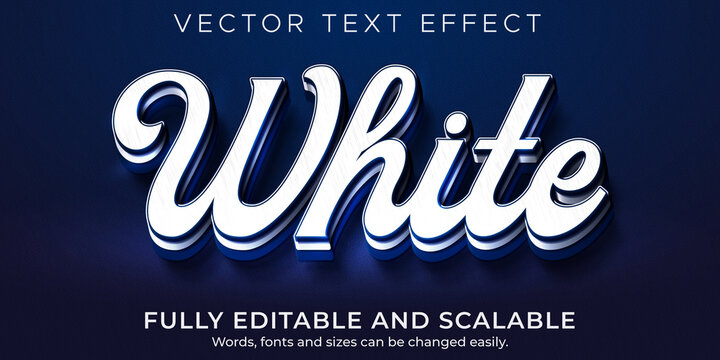 White blue text effect, editable prestige and branding text style