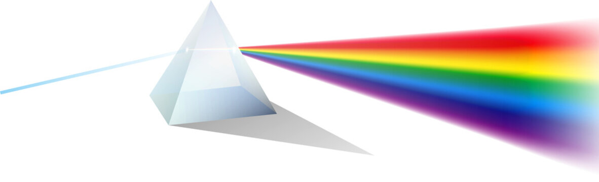set of color dispersion through prism or triangular prism break lights into spectral color or various color passing through triangular prism concept. eps 10 vector, easy to modify