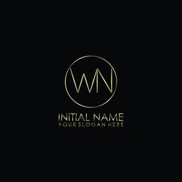 WN Initials handwritten minimalistic logo template vector