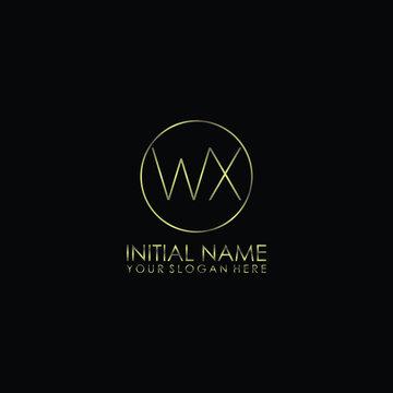 WX Initials handwritten minimalistic logo template vector