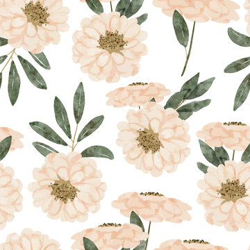 watercolor pastel color floral seamless pattern