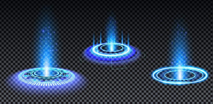 Blue hologram portal set. Magic fantasy portal. Magic circle teleport podium with hologram effect. Vector blue glow rays with sparks on transparent background.
