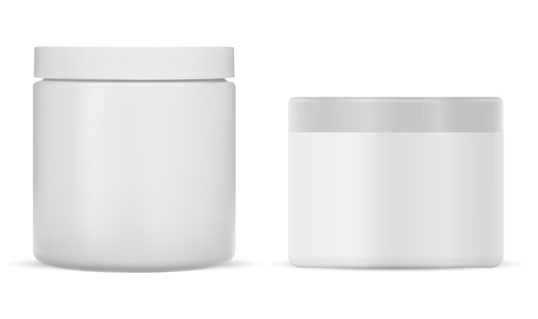 White plastic cream jar. Cosmetic cream package mockup. Round creme pack blank, realistic 3d packaging. Skin blush care beauty powder pack for branding identity. butter scrub canister template