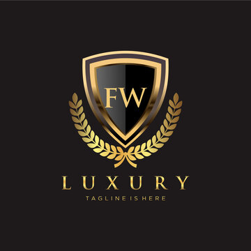 FW Letter Initial with Royal Luxury Logo Template