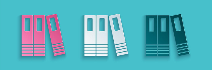 Obraz Paper cut Office folders with papers and documents icon isolated on blue background. Office binders. Archives folder sign. Paper art style. Vector - fototapety do salonu