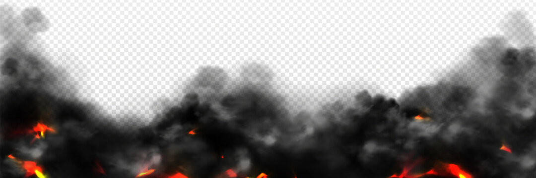 Realistic smoke with fire glow or sparks border. Burning flame, campfire, blaze effect frame, glowing red shining flare with black steam, 3d vector illustration isolated on transparent background