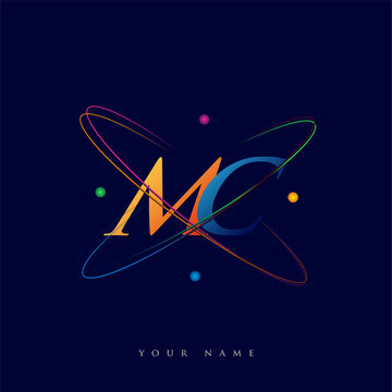 initial letter MC logotype science icon colored blue, red, green and yellow swoosh design. vector logo for business and company identity.