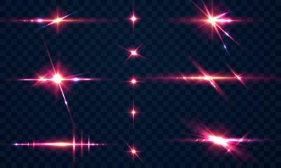 Fototapeta Set sparks glitter special light effect Glowing. Isolated on black transparent background. obraz