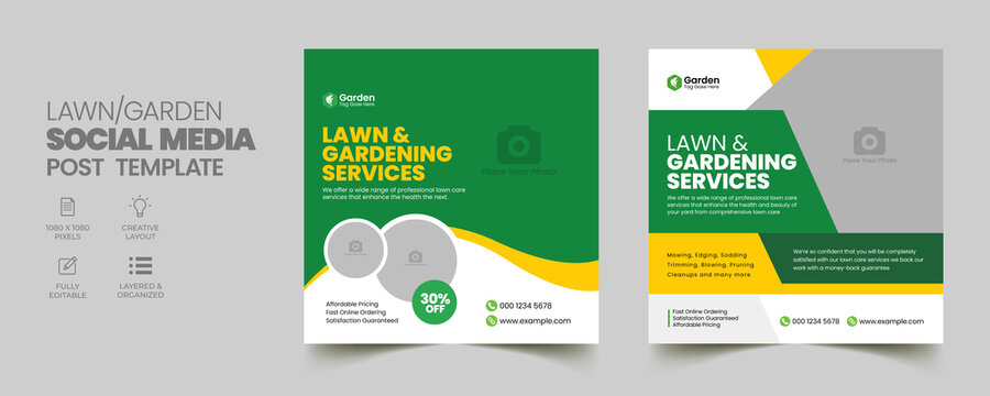 Lawn Mower Garden or Landscaping Service Social Media Post and Web Banner Template. Mowing poster, leaflet, poster design. grass, equipment, gardener